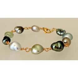 Poerani - Bracelet en Or Jaune 18 carats et Keshis de Tahiti