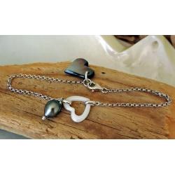 Makatea - Bracelet Argent Rhodié et Véritable Perle de Tahiti