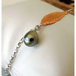 Fakahina- Bracelet Argent Rhodié et Véritable Perle de Tahiti