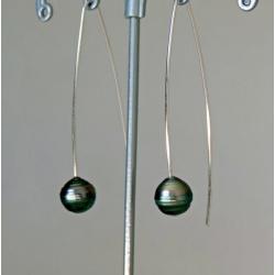 Anaa - Boucles d'Oreilles en Argent Rhodié et Perles de Tahiti