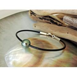 Bracelet Cuir - Montage sur Cuir Noir et Fermoir Argent