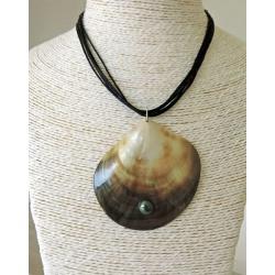 Maupiti - Collier Coton Noir, Nacre et Perle de Tahiti