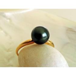 Perle d'Amour - Bague en Or Jaune et Véritable Perle de Tahiti