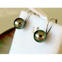 Soleils Verts - Boucles d'Oreilles Or Blanc et Perles de Tahiti