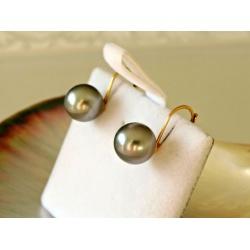 La Perfection - Boucles d'Oreilles en Or Jaune et Perles de Tahiti