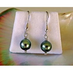 Vaimiti- Boucles d'Oreilles Argent Rhodié et Perles de Tahiti