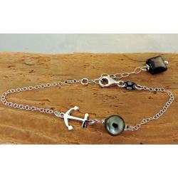 Ancre - Bracelet Argent Rhodié et Véritable Perle de Tahiti