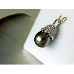 Ahinui - Pendentif Argent Rhodié et Perle de Tahiti