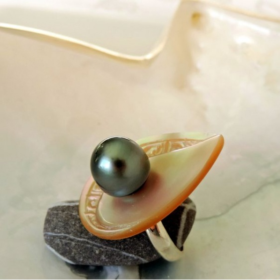 Takume - Bague en Argent, Burgot et Perle de Tahiti