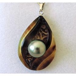 Maiao - Pendentif Argent Rhodié, Nacre et Perle de Tahiti