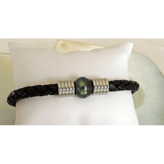 Toau - Bracelet Cuir, Acier et Véritable Perle de Tahiti