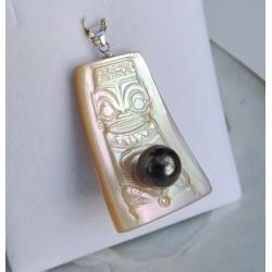 Tiki - Pendentif Argent Rhodié, Nacre et Perle de Tahiti