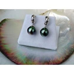 Tahiti - Boucles d'Oreilles Argent Rhodié et Perles de Tahiti