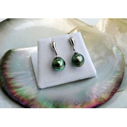 Akamanu - Boucles d'Oreilles en Argent Rhodié et Perles de Tahiti