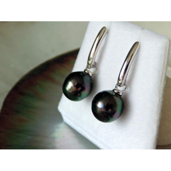 Vaearii - Boucles d'Oreilles Argent Rhodié et Perles de Tahiti