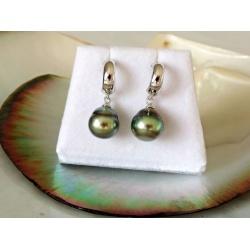Fatu Hiva - Boucles d'Oreilles en Argent Rhodié et Perles de Tahiti