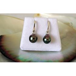 Raipoe - Boucles d'Oreilles en  Argent Rhodié et Perles de Tahiti