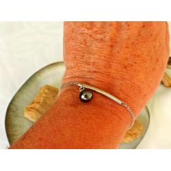 Mihiarii - Bracelet Argent Rhodié et Véritable Perle de Tahiti