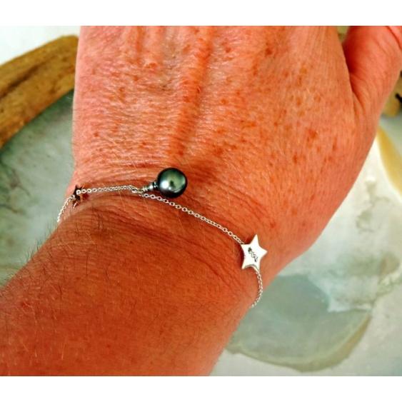 Tuamotu - Bracelet Argent Rhodié et Véritable Perle de Tahiti