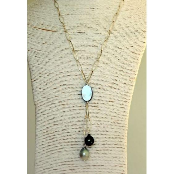 Aritua - Collier Argent Massif et Véritables Perles de Tahiti