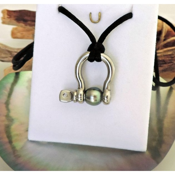 Wailele - Pendentif en Inox et Véritable Perle de Tahiti