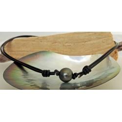 Poerava - Collier Cuir et Véritable Perle de Tahiti