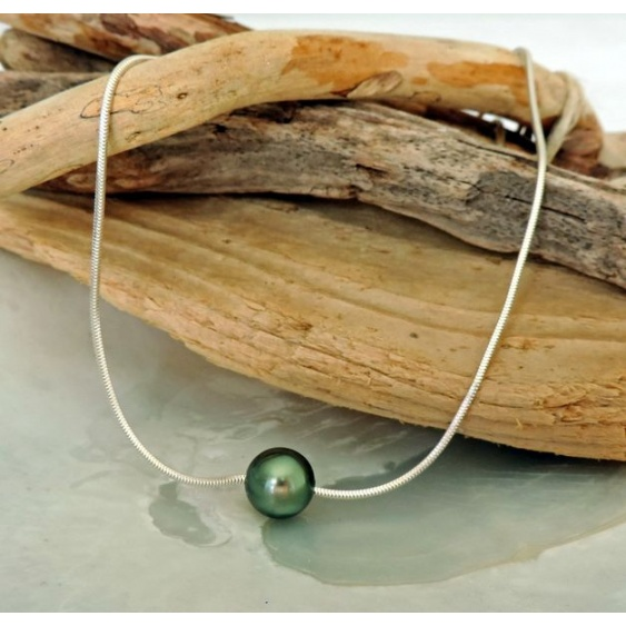Arii - Collier Argent Massif et Véritable Perle de Tahiti