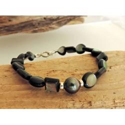 Hao - Bracelet Nacres et Véritable Perle de Tahiti
