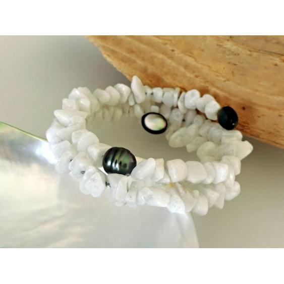 Waikiki - Bracelet en Véritable Perle de Tahiti