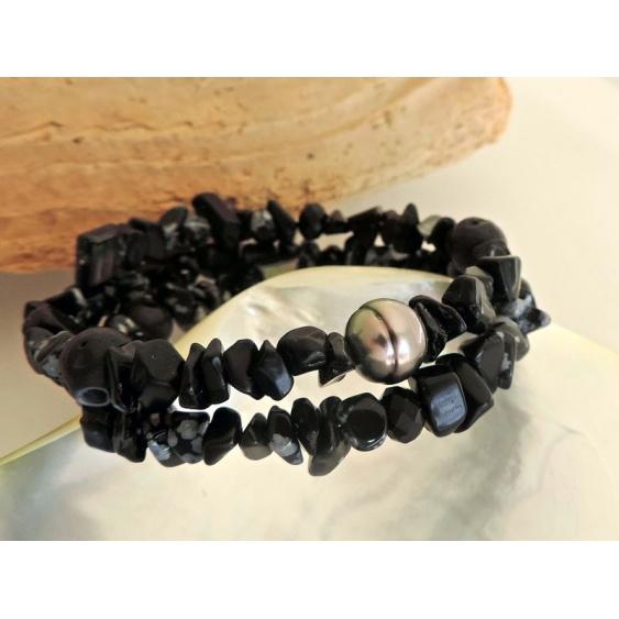 Vanira - Bracelet en Véritable Perle de Tahiti