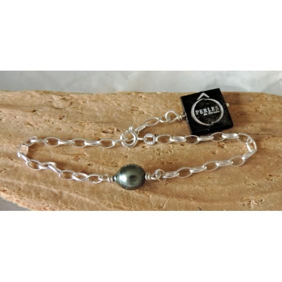 Taiana - Bracelet Argent et Véritable Perle de Tahiti
