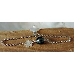 Tiare - Bracelet Argent et Véritable Perle de Tahiti