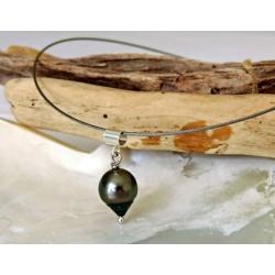 Tubuai - Collier Argent Massif et Véritable Perle de Tahiti