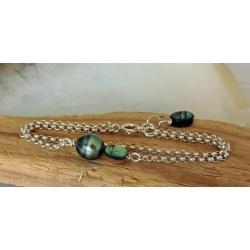 Vaitia - Bracelet Argent et Véritable Perle de Tahiti
