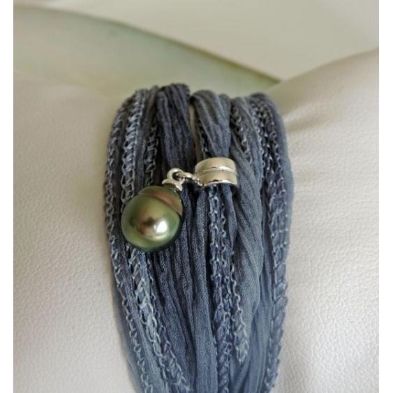 Vahia - Bracelet/Collier Soie et Véritable Perle de Tahiti