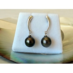 Vaea- Boucles d'Oreilles Argent Rhodié et Perles de Tahiti