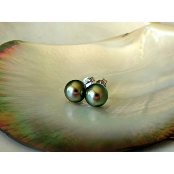 Rimatara - Boucles d'Oreilles Argent Rhodié et Perles de Tahiti