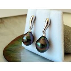 Tahuata - Boucles d'Oreilles Argent Rhodié et Perles de Tahiti