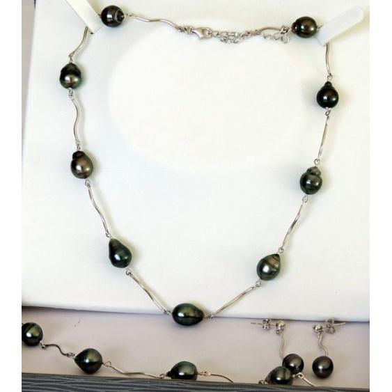Tuamotu - Parure Collier, BO et bracelet Argent et Perles de Tahiti