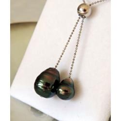 Moea - Collier Argent rhodié et Perle de Tahiti - Ô Perles du Paradis