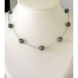 Moorea - Collier Argent rhodié et Perles de Tahiti - Ô Perles du Paradis