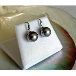 Raipoe - Boucles d'Oreilles Argent Rhodié et Perles de Tahiti