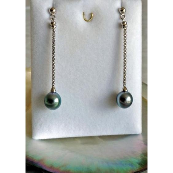 Vaiata - Boucles d'Oreilles en Argent Rhodié et Véritables Perles de Tahiti