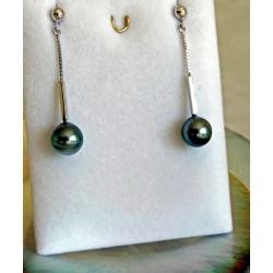 Bella - Boucles d'Oreilles en Argent Rhodié et Véritables Perles de Tahiti