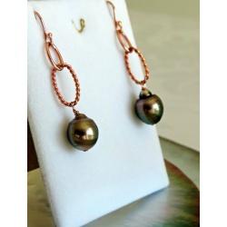 Rosa - Boucles d'Oreilles en Argent Rhodié et Véritables Perles de Tahiti