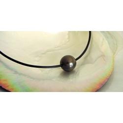 Wailele - Collier Cuir, Argent et Véritable Perle de Tahiti