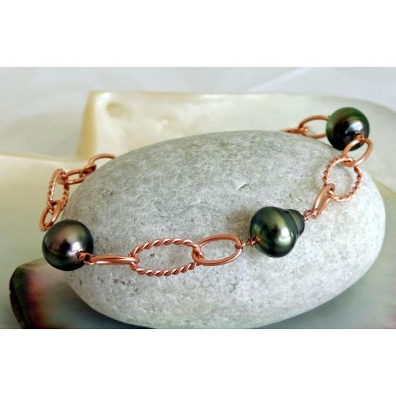 Evana - Bracelet Argent Rosé et Véritables Perles de Tahiti