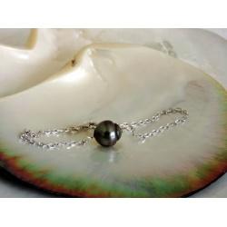 Tikahera - Bracelet Argent Rhodié et Véritable Perle de Tahiti