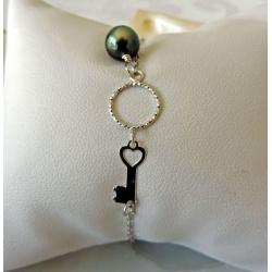 La Clé - Bracelet Argent Rhodié et Véritable Perle de Tahiti