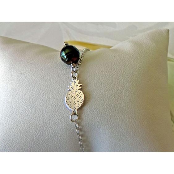 Painapo - Bracelet Argent et Véritable Perle de Tahiti